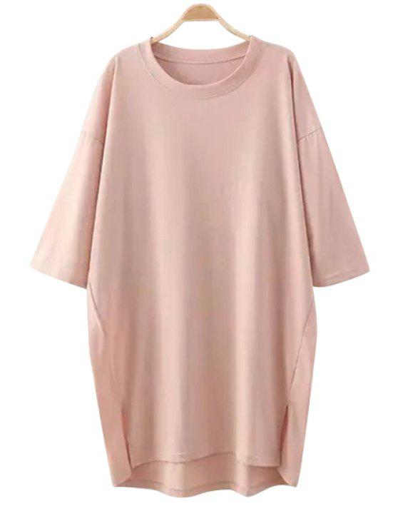 women Solid Color Slit Half Sleeve Dress - PINK ONE SIZE(FIT SIZE XS TO M)