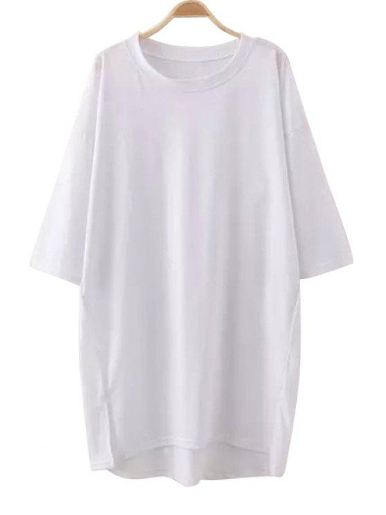 buy Solid Color Slit Half Sleeve Dress - WHITE ONE SIZE(FIT SIZE XS TO M)