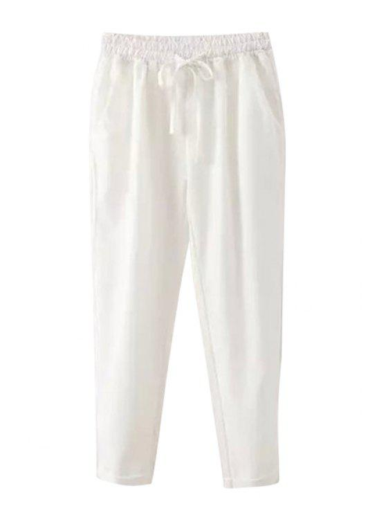 hot Solid Color Elastic Tie-Up Pants - WHITE S