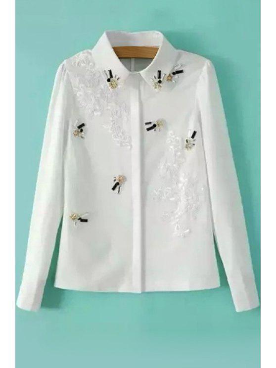 buy Crochet Flower Rhinestone Shirt - WHITE S
