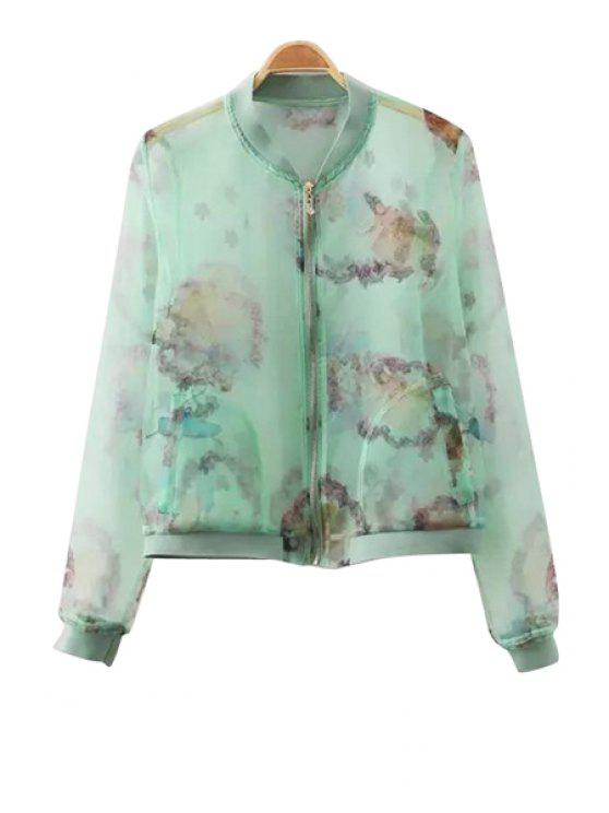 best Stand-Up Collar Floral Print See-Through Coat - GREEN S