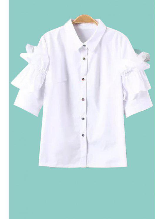 new White Ruffled Half Sleeve Shirt - WHITE XS