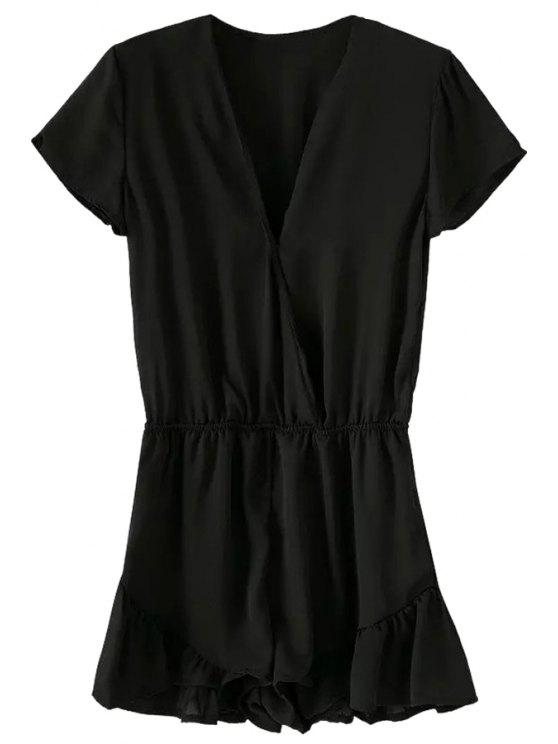 latest Solid Color Ruffled Short Sleeve Romper - BLACK S