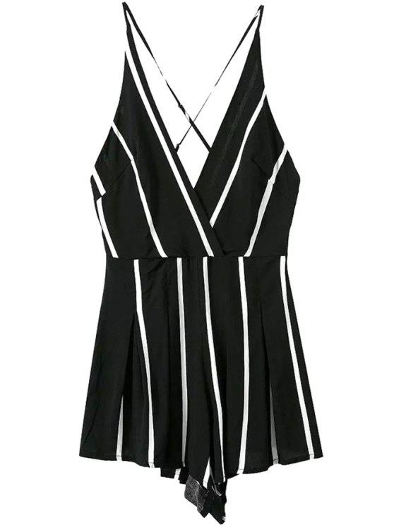 latest Stripes Backless Spaghetti Straps Romper - BLACK S