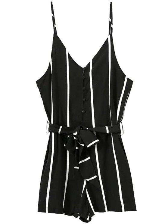 womens Stripes Self-Tie Spaghetti Straps Romper - BLACK S