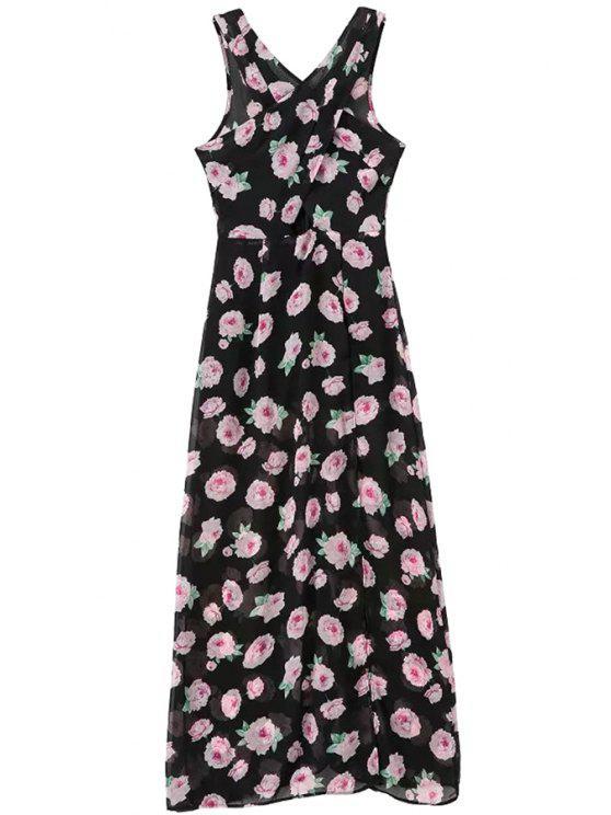 buy Floral Print Sleeveless Chiffon Maxi Dress - BLACK S