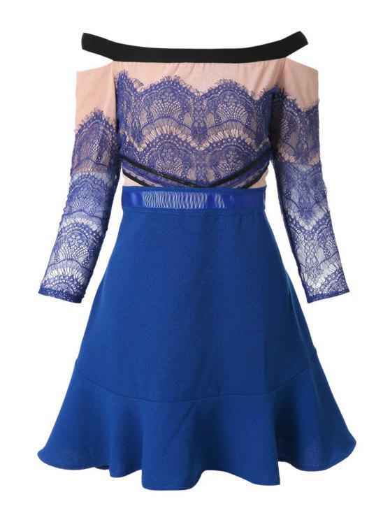 chic Slash Neck Lace Splicing Flounce Dress - BLUE L