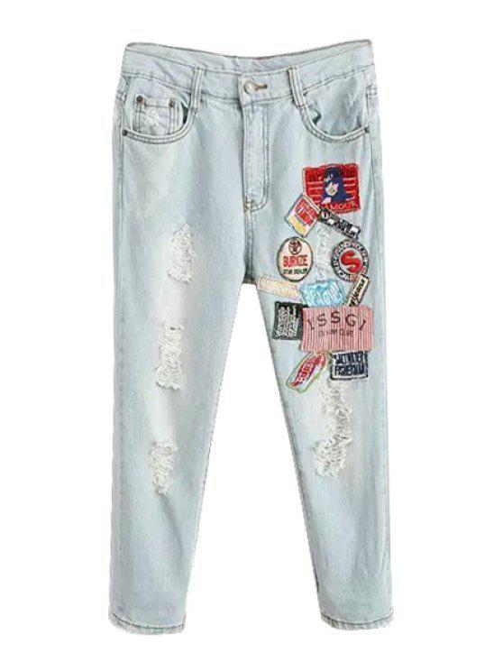 shop Destroy Wash Applique Splicing Jeans - LIGHT BLUE 26