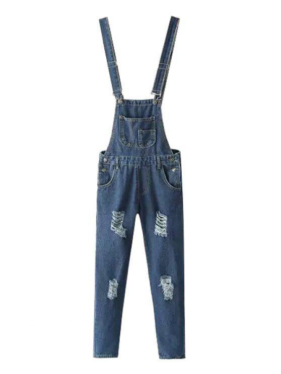 lady Destroy Wash Pocket Denim Overalls - DEEP BLUE S