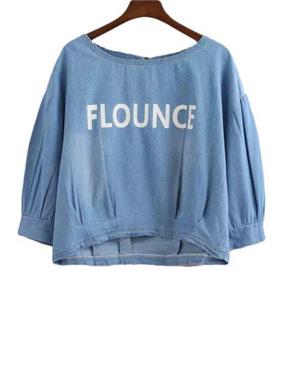 hot Letter Print Ruffle Denim Half Sleeve T-Shirt - DEEP BLUE S