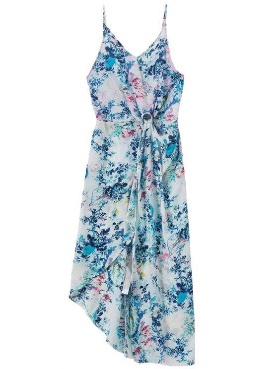 women's Floral Irregular Hem Spaghetti Straps Dress - BLUE AND WHITE S
