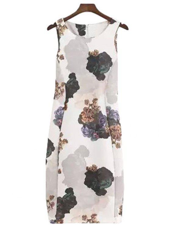 buy Floral Print Dress - WHITE S