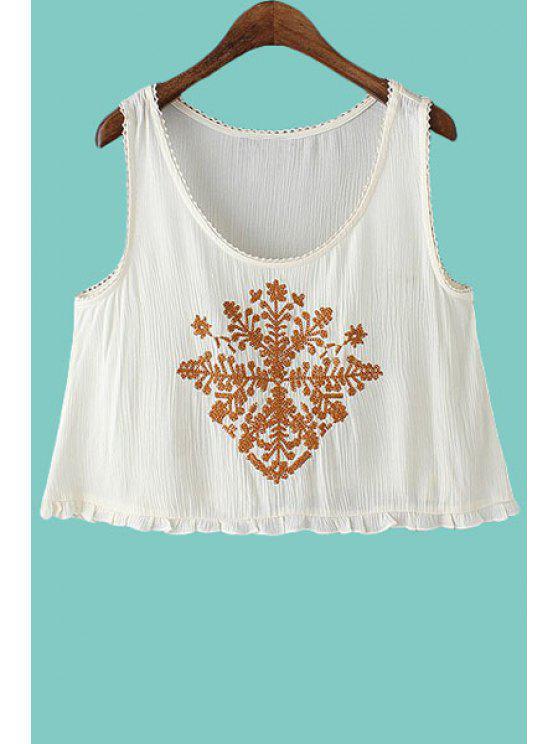 fashion Embroidery Flounce Sleeveless Tank Top - WHITE S