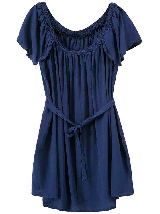 ladies Short Sleeves Purplish Blue Dress - PURPLISH BLUE ONE SIZE(FIT SIZE XS TO M)
