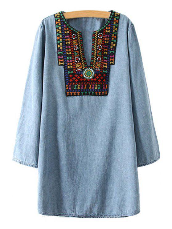 unique Colorful Embroidery Denim Long Sleeve Dress - LIGHT BLUE S