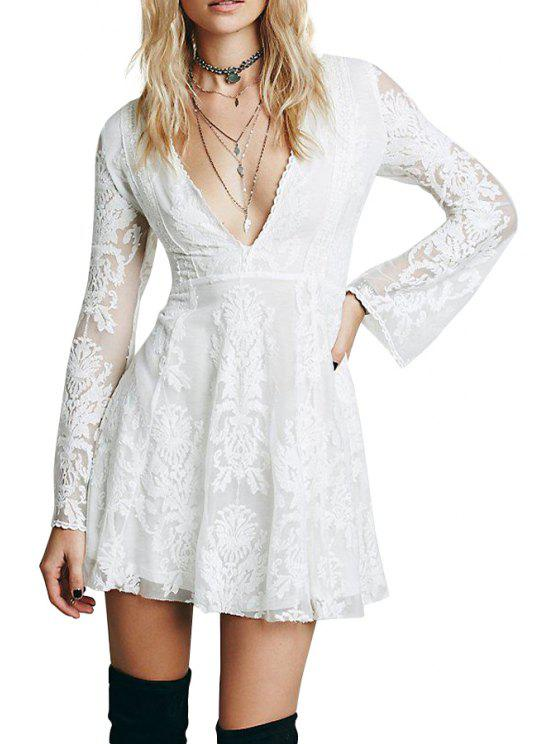 womens Plunging Neck See-Through Lace Dress - OFF-WHITE S