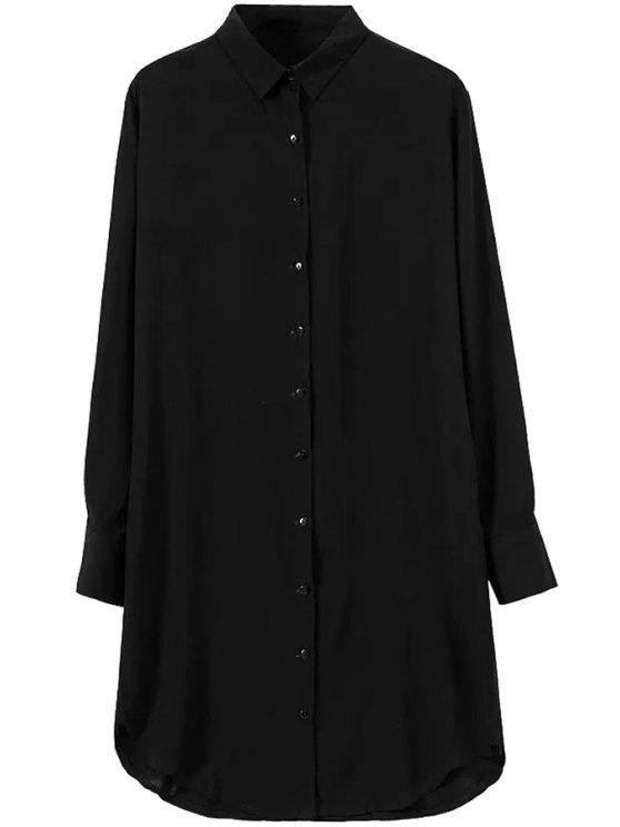 sale Solid Color Shirt Neck Long Sleeve Shirt - BLACK S