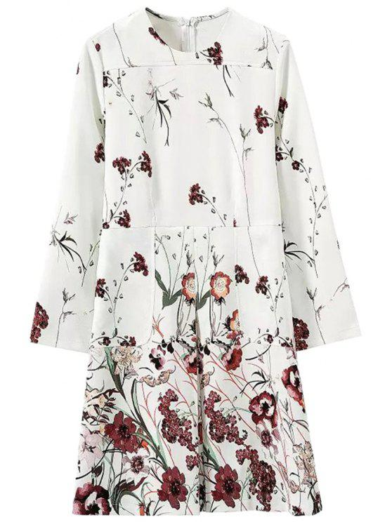 womens Floral Pattern Long Sleeve Dress - WHITE S