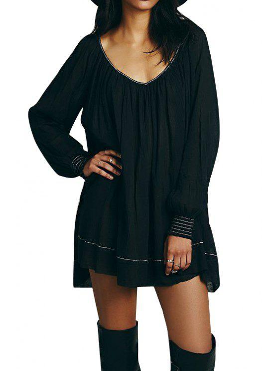 lady Backless Ruffle Long Sleeve Dress - BLACK S