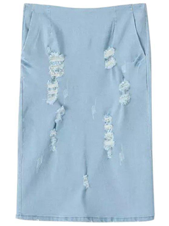 online Broken Hole Solid Color Denim Skirt - LIGHT BLUE S