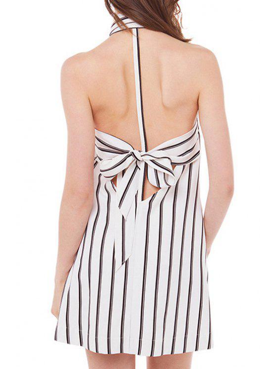 trendy Stripe Backless Tie-Up Sleeveless Dress - WHITE M
