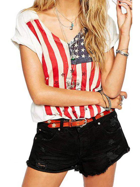 fashion American Flag Short Sleeve Top - WHITE L