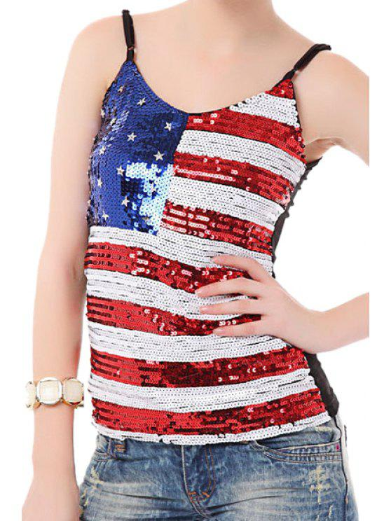 fancy American Flag Sequins Spaghetti Straps Top - COLORMIX ONE SIZE(FIT SIZE XS TO M)