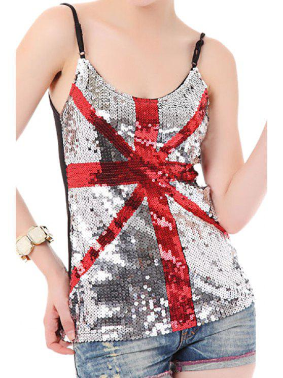 unique Union Flag Sequins Spaghetti Straps Tops - BLACK AND WHITE AND RED ONE SIZE(FIT SIZE XS TO M)