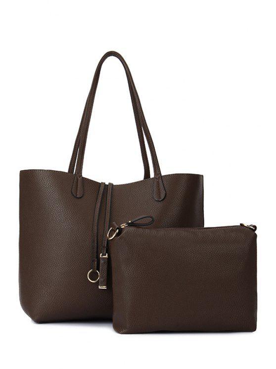 affordable Solid Color Pendant Shoulder Bag - COFFEE
