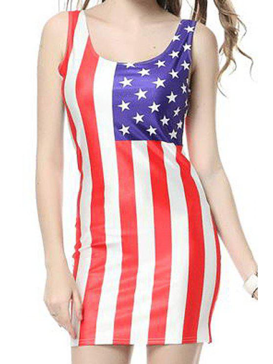 best American Flag Print Bodycon Sundress - RED WITH WHITE ONE SIZE(FIT SIZE XS TO M)