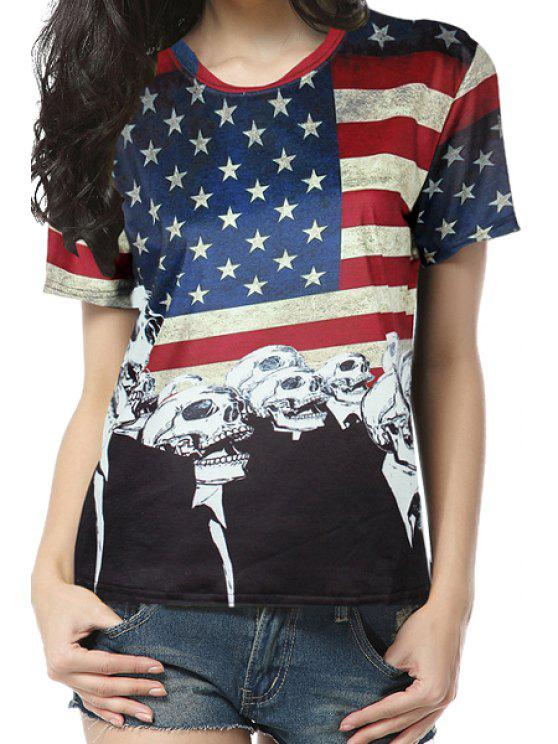 fancy American Flag Short Sleeve T-Shirt - COLORMIX ONE SIZE(FIT SIZE XS TO M)