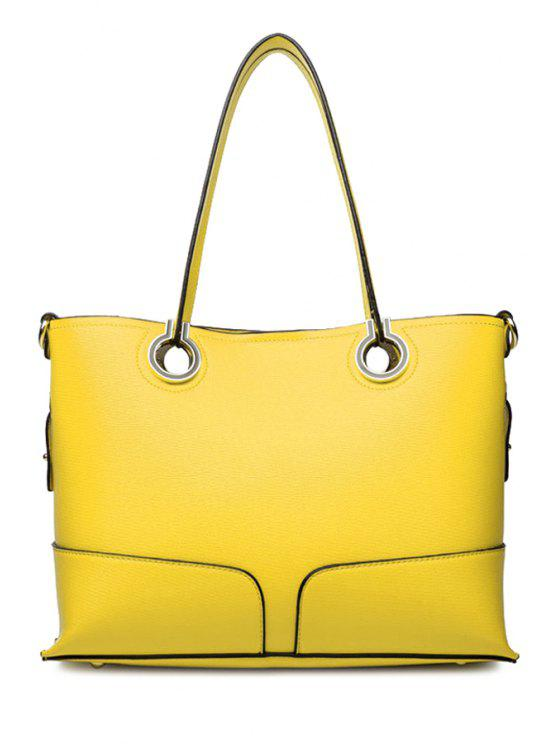 shop Solid Color Rings Shoulder Bag - YELLOW