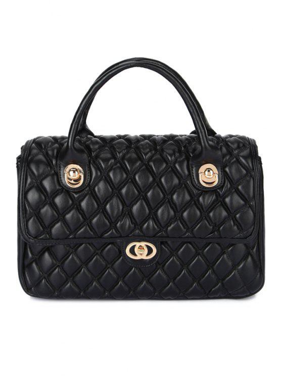 shops Checked Metallic PU Leather Tote Bag - BLACK