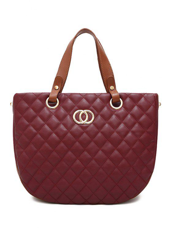 fancy Color Block Checked Tote Bag - RED