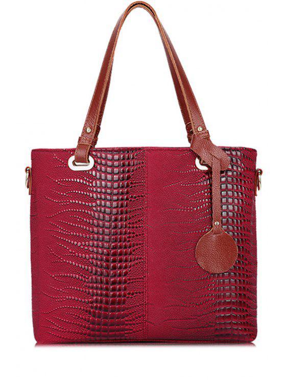women's Pendant Crocodile Print Tote Bag - RED