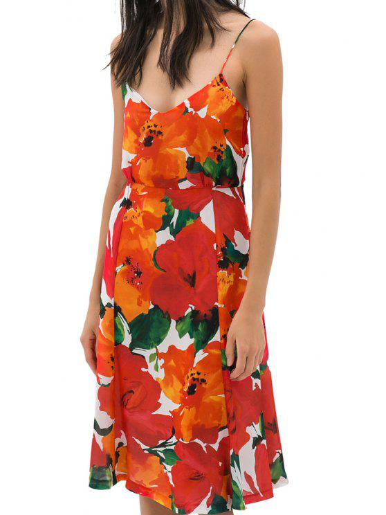 womens Red Floral Spaghetti Straps Dress - COLORMIX S