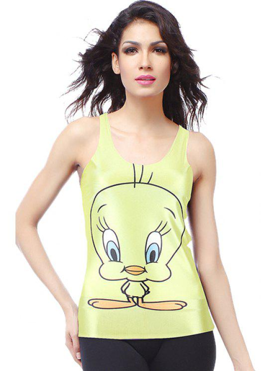 affordable Cartoon Chook Print Sleeveless Tank Top - BLUISH YELLOW ONE SIZE(FIT SIZE XS TO M)