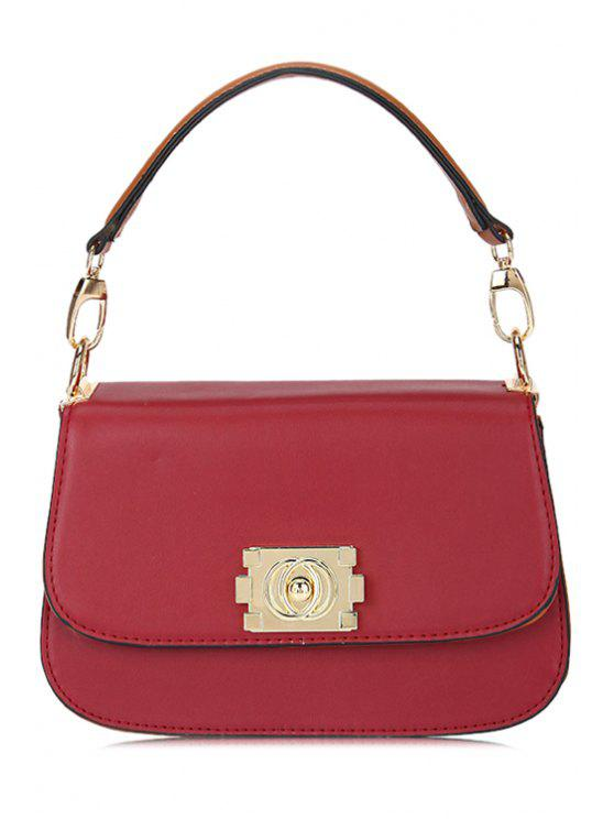 online Hasp Solid Color Tote Bag - WINE RED