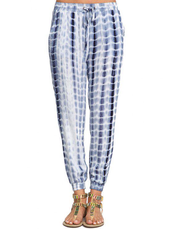 fashion Blue Drawstring Waist Pant - BLUE S