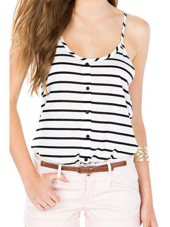 ladies White Black Spaghetti Strap Striped Vest - STRIPE S