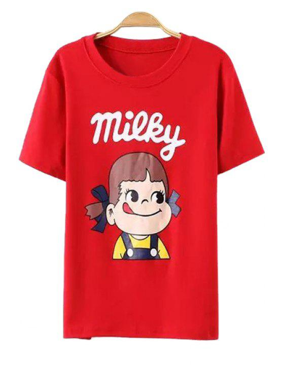 hot Cartoon Girl Print Short Sleeve T-Shirt - RED ONE SIZE(FIT SIZE XS TO M)