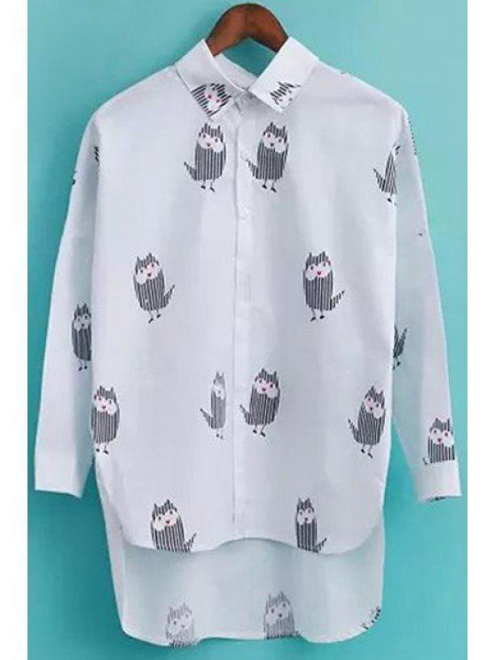 shops Long Sleeves Owl Print Shirt - WHITE S