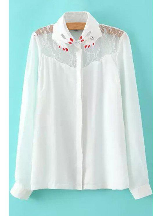 unique Lace Spliced Embroidery Long Sleeve Shirt - WHITE S