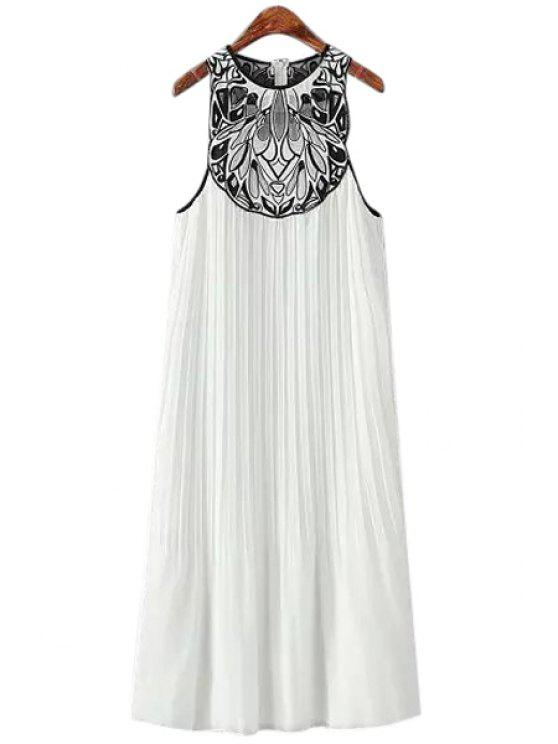 latest Embroidery Pleated Sleeveless Dress - WHITE ONE SIZE(FIT SIZE XS TO M)