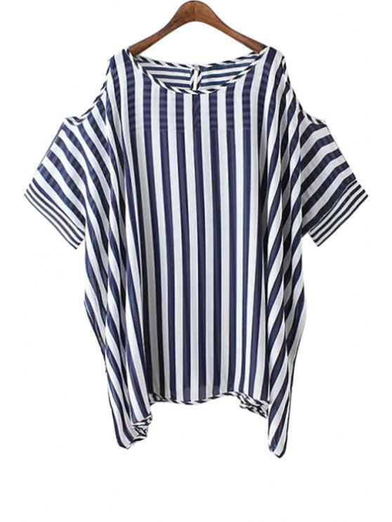 ladies Off-The-Shoulder Striped Short Sleeve Blouse - STRIPE ONE SIZE(FIT SIZE XS TO M)