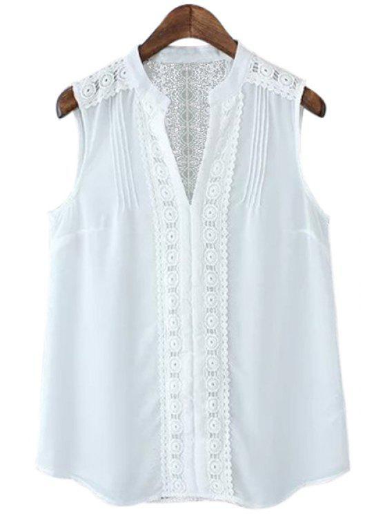 online Lace Spliced V-Neck Sleeveless Shirt - WHITE S