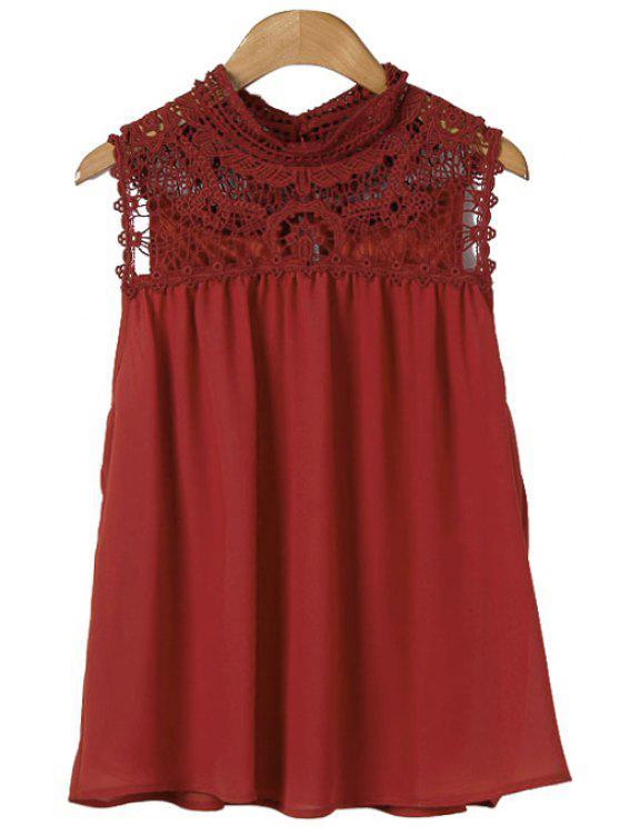 latest Crochet Spliced Sleeveless Blouse - CLARET L