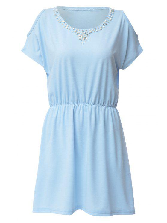 best Faux Pearl Bead Off-The-Shoulder Dress - AZURE XL