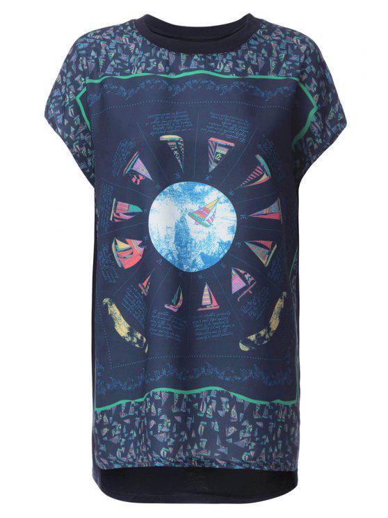 Imprimer Bateau à voile à manches courtes T-shirt - Bleu Foncé XL