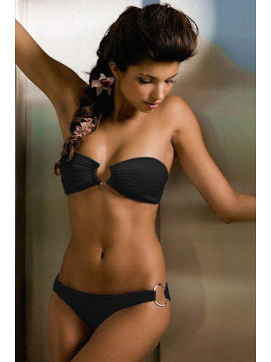 fancy Solid Color Splicing Bikini - BLACK L